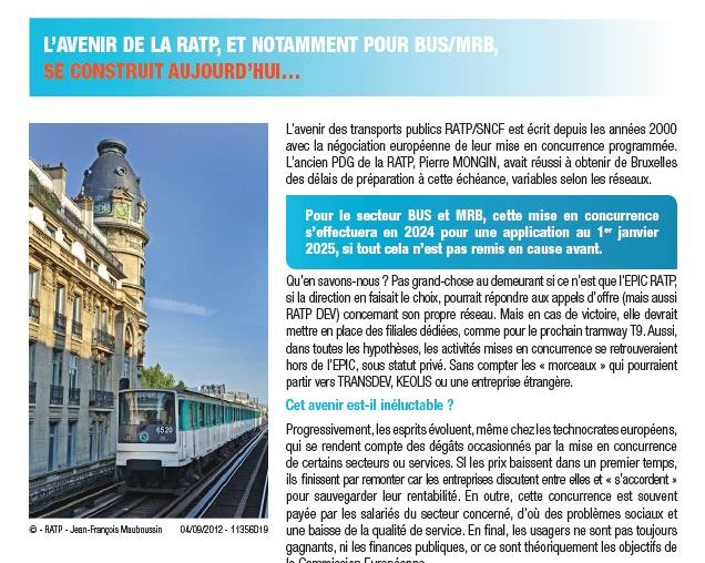 Le journal d'information de l'UNSA-RATP - n°19
